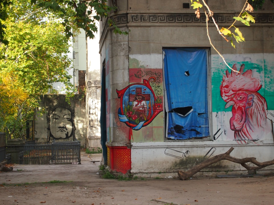 dilapidated old building spiced up with some street art while it awaits (hopefully) restoration