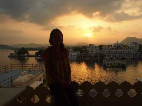 Rooftop sunset from our hotel in Udaipur.
