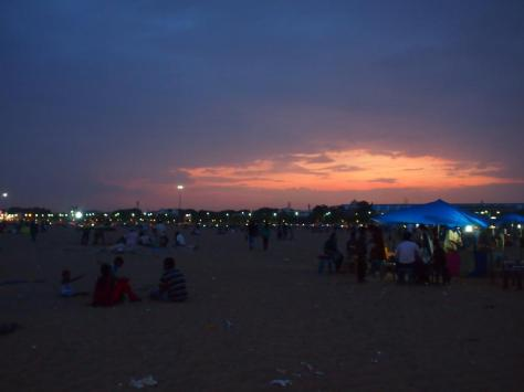 Marina Beach at nightfall.  A very wide beach with a carnaval-like feel in the evenings.