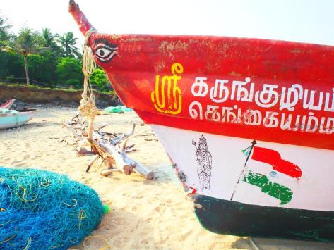 Fisherman's boat on the Bay of Bengal - Mahabalipuram