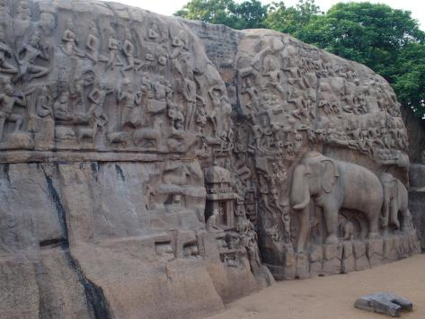 Such beautiful carvings in a stone wall,especially the family of elephants and monkeys