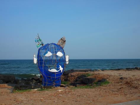 The Pondicherry Boardwalk starts with a fun piece of art made from upcycled trash.