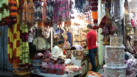 Hard to admire all the wedding trinkets in the bridal section of the bazaar with so much rain.