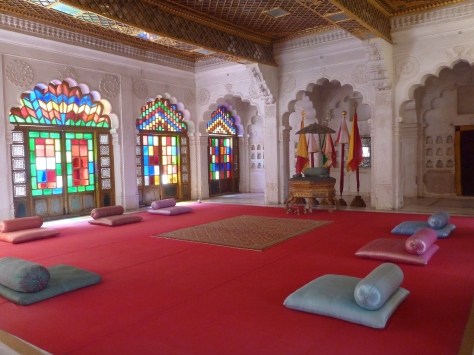 Each room is elaborately decorated with different styles, depending on which maharaja built it or last used it.