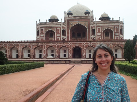 Visiting the beautiful grounds at Humayun's Tomb - part of what gave inspiration for the building of the Taj Mahal.