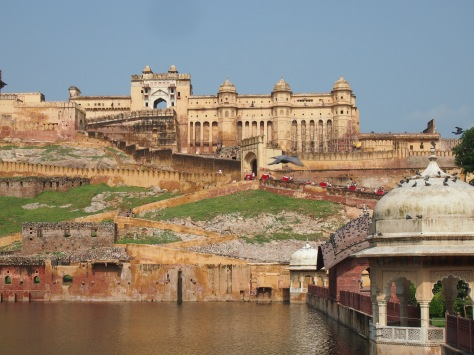 Amber Fort. The red dots are elephants, adding to the romantic princely feeling of being in the Rajput era.