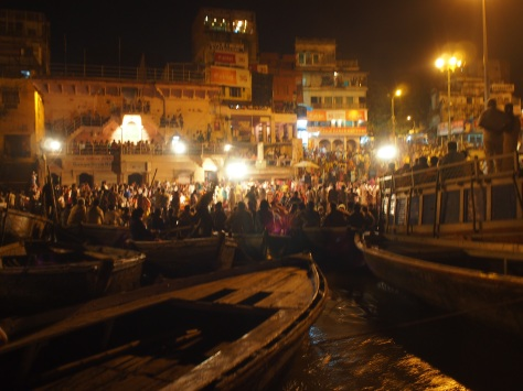 The first night we watched the Ganga ritual from the water.