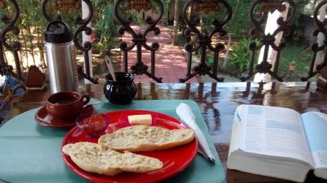 Peaceful breakfast on the veranda at Casa Eva Luna Homestay in Varkala.