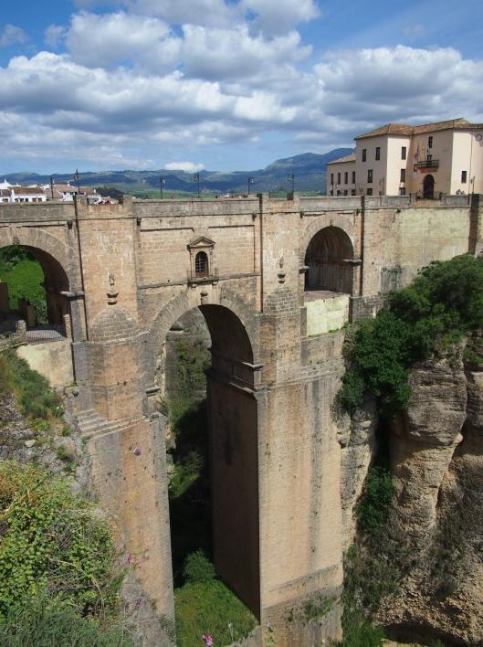 Impressive bridge in Ronda, connecting the town on either side of the gorge.