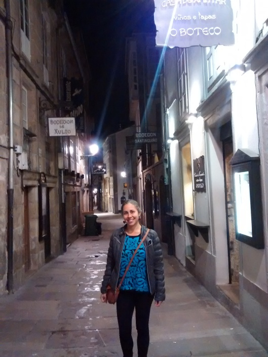 We gave the camera a rest while in Santiago de Compostela so we hardly have any pictures, but here is one from one of our nights in Santiago.