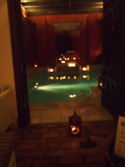 very low lighting so crappy cell phone photo but this was the bottom level of the spa and one of several baths.